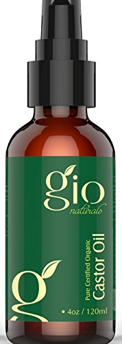 Gio Naturals Organic Cold Pressed Castor Oil, Regrowth Treatment for Hair and Skin Moisturizer, 4 Oz Pressed Hair Care