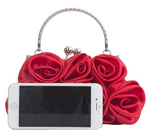 Bridal Party Bag Clutch Handbag Red Flower Onfashion Women's Tote Evening Bag Rose WBOqYYwxfz