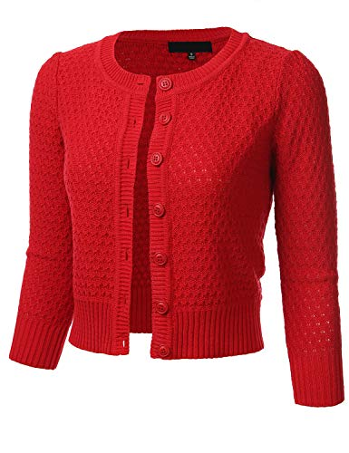 FLORIA Womens Button Down 3/4 Sleeve Crew Neck Cotton Knit Cropped Cardigan Sweater RED (Red Cotton Cardigan)