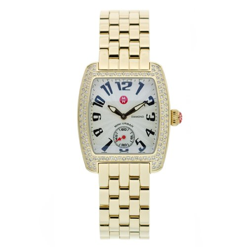 Diamond Mini Watch Urban (Michele Women's MWW02A000064 Urban Mini Diamond Gold Tone Quartz Watch)