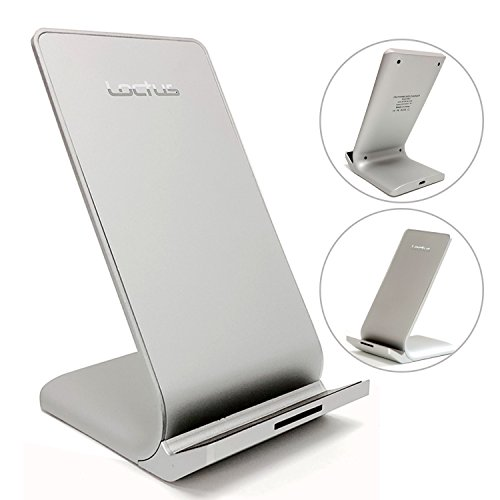 Wireless Charging Station for Cell Phones – 10W Wireless Charging Speed – Compatible with iPhone, Samsung, LG, Google Nexus, Microsoft Lumia and Blackberry models by Loctus Silver (Cell Station)