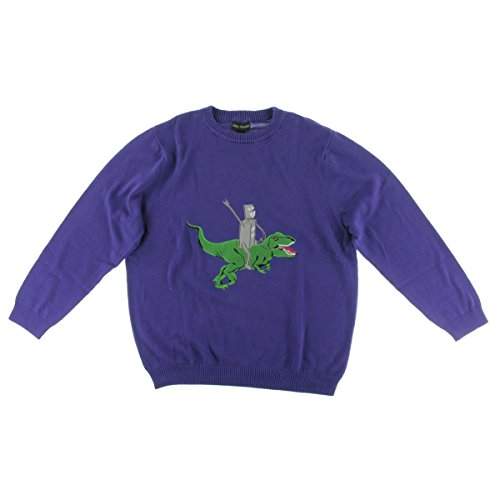 Alex Stevens Men's Robot Dinosaur Rodeo Sweater, Virtual Violet, X-Large