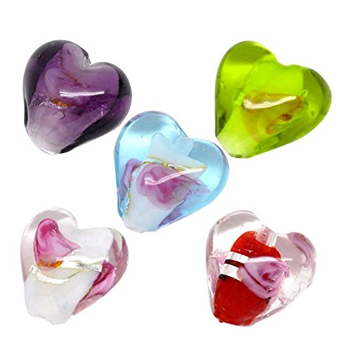 YC 50pcs Mixed Lampwork Glass Color-Lined Foil Heart Beads (Foil Bead Necklace Glass)
