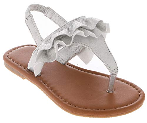 (Capelli New York Toddler Girls Metallic with Gathered Detail Sandal Silver 5)
