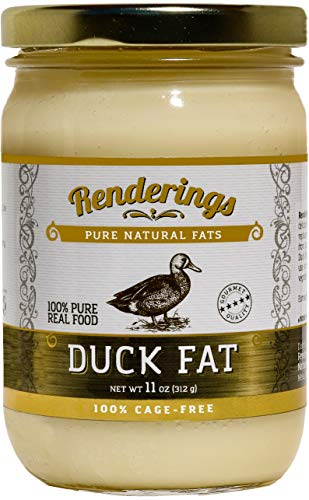Renderings Duck Fat - Pasture Raised - Cage Free - Completely Pure - No Added Ingredients - Cooking, Baking and Frying, 11 oz Jar
