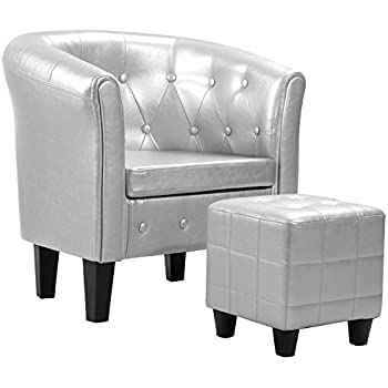 Harperu0026Bright Designs Armchair Modern Upholstered Living Room Club Chair  With PU Leather/Ottoman/Cushion