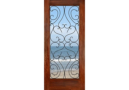 ETO Doors Spain - Exterior Mahogany Wood Full Lite French Entry Door with Modern Iron Grill Design, Pre-Hang Available, Door/Slab Only, Size 36