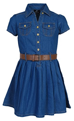 'Dollhouse Girls Belted Denim Cap Sleeve Pleated Chambray - Leather Belted Dress
