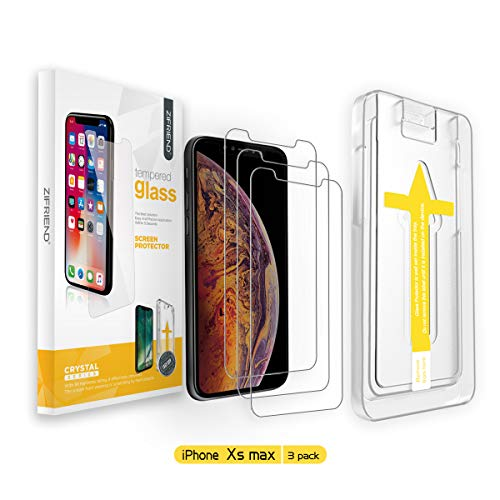 ZIFRIEND Screen Protector for iPhone Xs Max(3 Pack 6.5), Ultra Smooth Big Radian 2.5D 0.4mm Tempered Glass Screen Protector with Easy Installation Alignment Frame[3D Touch Compatible 2018]