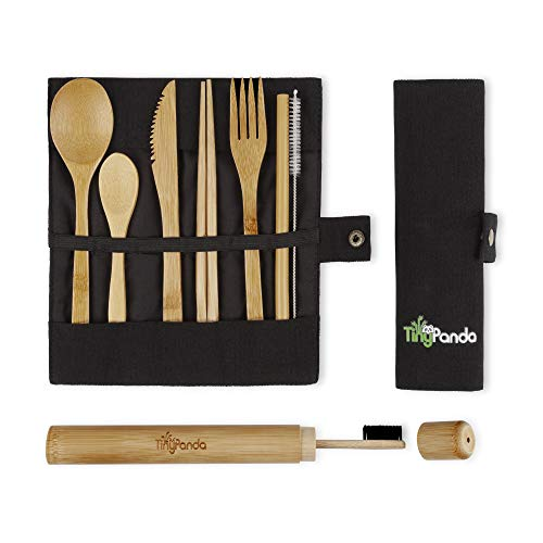 Tiny Panda Bamboo Utensils | Bamboo Travel Cutlery Set | Reusable Utensils With Case | Camping Utensils To-Go | Bamboo Flatware Set | Travel Utensil Set | Eco Friendly Zero Waste Fork Spoon Knife Set