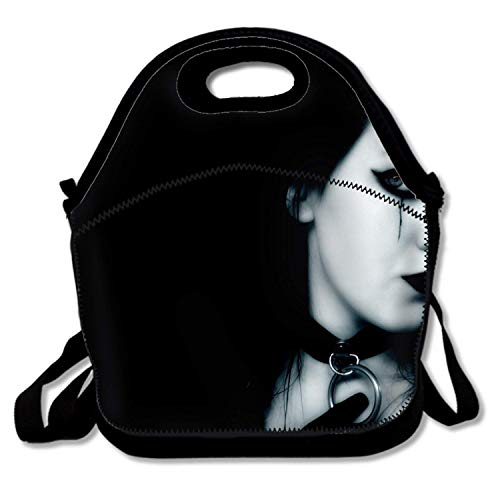 Bjiansoah Insulated Lunch Bag Dark Gothic Emo Lunchbox Waterproof Cooler Warm Bags Reusable Tote Box Handbag for School Office