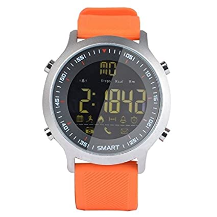 Sport Smart Watch EX18 Smart Watch Sport Watch 5ATM Waterproof Pedometer Bluetooth 4.0 Call SMS Reminder for Android iOS (Orange)