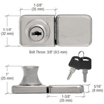 CRL Brushed Nickel UV Bond Classic Series Glass Door Lock and Keeper for Double Doors (Chrome Double Glass Door Lock)