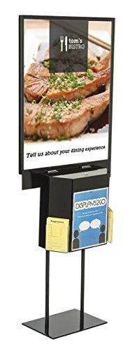 Displays2go LSBST1BKBK Floor Sign Holder, 22x28-Inch, Double Sided with Attached Suggestion Box, Black by Displays2go