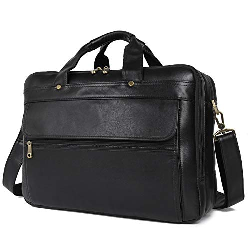 Texbo Men's Solid Full Grain Leather 16 Inch Laptop Briefcase Messenger Shoulder Bag (New Version))