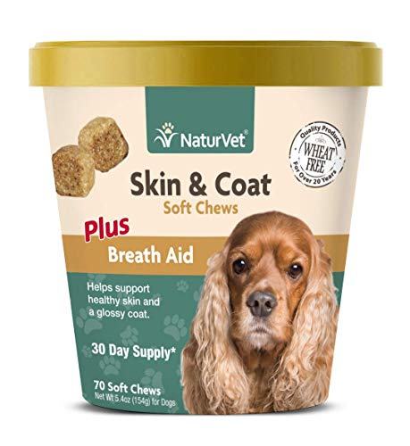 NaturVet - Skin & Coat Plus Breath Aid for Dogs - 70 Soft Chews - Supports Healthy Skin & Glossy Coat - Enhanced with Omega-3, Omega-6 & Biotin - 30 Day Supply