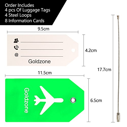 PVC Rubber Luggage Tags w/Full Privacy Flap,Great for Luggage Cases Identification by Goldzone (Green-4 Pack) by Goldzone (Image #2)