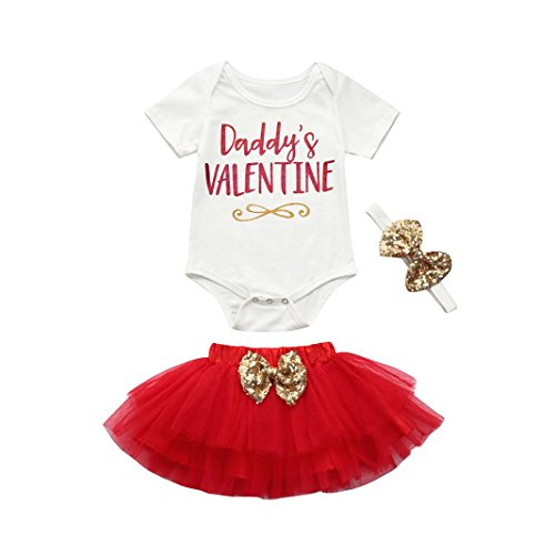 85f3b001fc51 G-real Baby Girl 3Pcs Valentine's Day Outfits Letter Romper Top+Sequin Bow  Tutu Skirt+Headband Set For3-18M