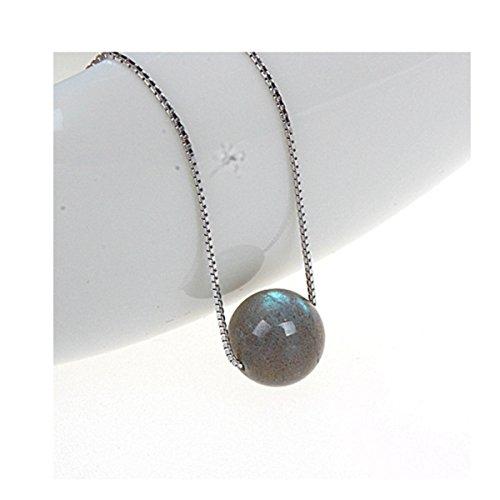 Polishing Labradorite Ball Drop Pendants Necklace