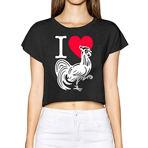 - Womens Girls Sexy Basic Short Sleeve I Love Heart Cock-1 Scoop Neck Crop Top Cotton T-Shirts Black