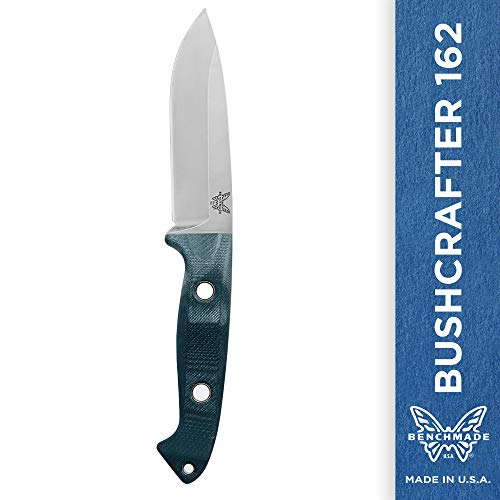 (Benchmade, Bushcrafter 162, Outdoor Survival Knife, Fixed Drop-Point Blade, Leather Sheath with Belt Loop and D-Ring, Made in)