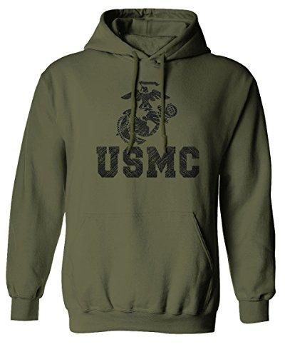 USMC Marine Corps Big Logo Black Seal United States of America USA American Hoodie (Olive, X-Large)