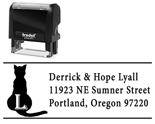 Return Address Stamp Personalized Self Inking, Choose from 5 Ink Colors. Surname Initial and 3 Lines Sitting Cat Image for Initial Family Surname by Pickled Return Address Stamps