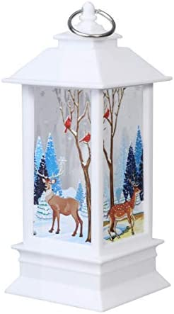 Toyvian クリスマスの装飾ランプは家の居間のための炎の蝋燭の夜ライトを模倣しました(白いヘラジカパターン)