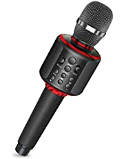 Bluetooth Karaoke Microphone,Wireless Karaoke Mic Speaker Machine with Duet Vocal Remover Function Home Party for All Smartphone(Black)