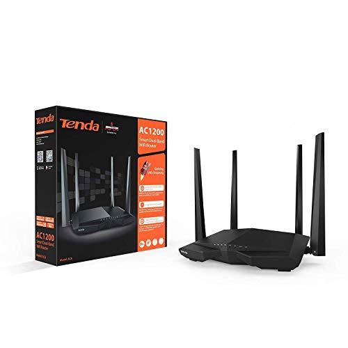Tenda AC6 AC1200 Router inalámbrico Gigabit inteligente de doble banda (4 puertos 4 antenas externas 5dBI HG 24 GHz a...