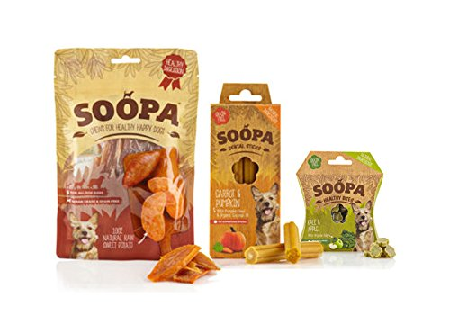 Soopa Dog Treats Selection Sweet Potato Chews, Carrot & Pumpkin Dental Sticks, Kale & Apple Healthy Bites