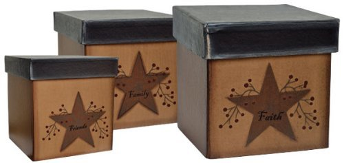 Star & Berries Papier Mache Nesting Boxes Faith Family Friends Country Primitive Décor