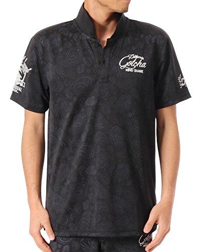 ガッチャゴルフ GOTCHA GOLF 半袖シャツ?ポロシャツ UVカットドライペイズリー半袖ポロシャツ ブラック M