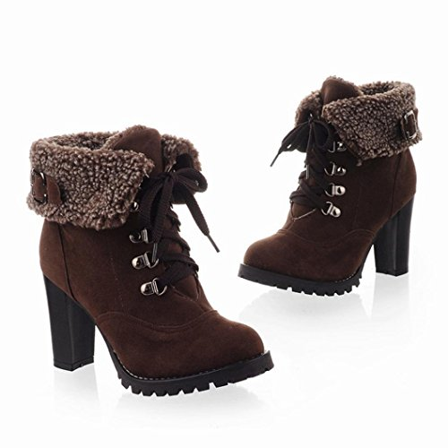 Women Martin Boots Shoes, SOMESUN Inverno Casuale Peluche Donne Stivali In Pizzo-Up Stivaletti Tacco Alto (37, Brown)