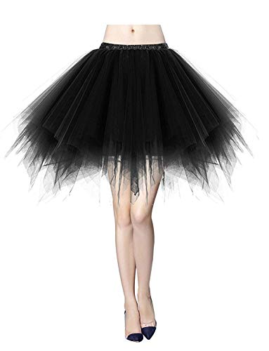 MizHome Womens Black Plus Size Tutu Skirt Layered Tulle Skirt Adult Halloween Costumes