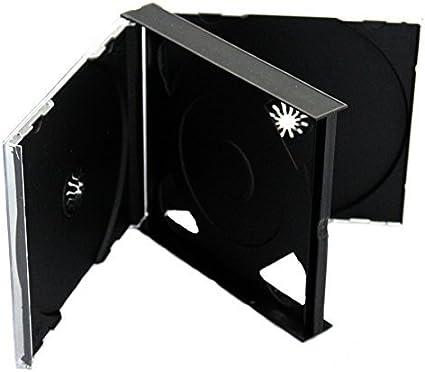 Dragon Trading Estuche para CD o DVD, 3 compartimentos para 3 discos, 25 mm, con bandeja negra, lote de 10 unidades: Amazon.es: Oficina y papelería