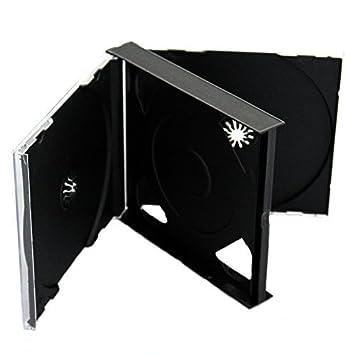Dragon Trading Estuche para CD o DVD, 3 compartimentos para 3 discos, 25 mm, con bandeja negra, lote de 10 unidades