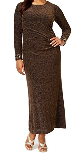 Patra Women's Plus Metallic Ruched Sheath Dress Gold 14W