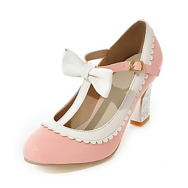 Zapatos de tacones de las mujeres Primavera Verano Otoño Invierno Comfort cuero sintético oficina y carrera Fiesta y Noche Casual tacón grueso del Bowknot BuckleBlack rosa Pink