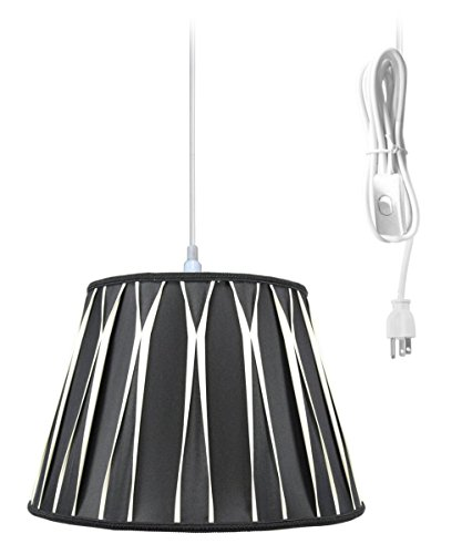 Plug-In Pendant Light By Home Concept - Hanging Swag Lamp Black/Beige Shade - Perfect for apartments, dorms, no wiring needed (Beige, White One-light) Brass Pleat Shade Plug