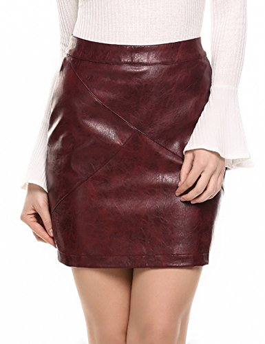 Zeagoo Women Basic Versatile Faux Leather Bodycon Slim High Waisted Pencil Skirts Wine Red XL (Leather Patent Skirt)