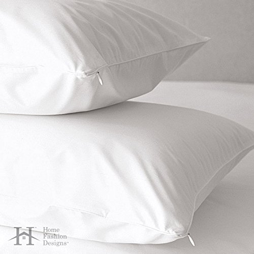 2-Pack Premium Allergy Protection Pillow Protectors. Hypoallergenic Dust Mite & Bed Bug Resistant Anti-Microbial 400 Thread Count 100% Cotton Zippered Pillow Covers. (Standard)