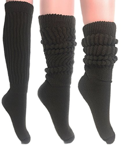Women's Extra Long Heavy Slouch Cotton Socks Made in USA Size 9 to 11 (3 Pairs - Brown)