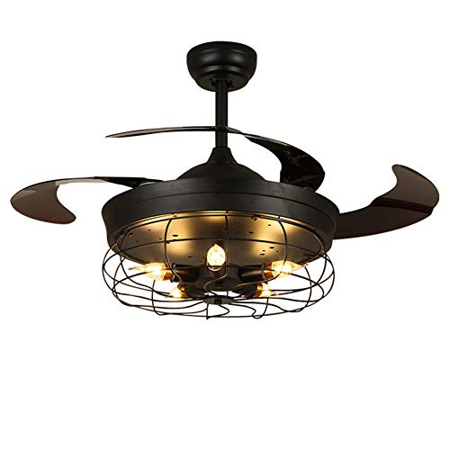 - Ceiling Fan with Light, Pendant Light with Invisible Blade, Remote Control to Adjust Fan Speed and Wind Direction for Summer and Winter, Black