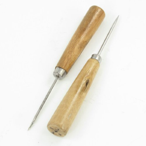 2 in 1 Wooden Handle Stitcher Tapered Curved Needle Sewing A