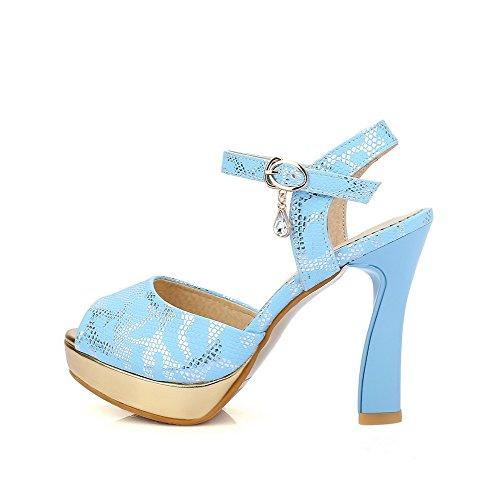Amoonyfashion Kvinners Mykt Materiale Spenne Pip Toe Høye Hæler Assorterte Farger Hæl-sandaler Blå