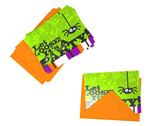 'Let Loose!' Spider Party Invitations Cards | Halloween Theme Party Invitation Cards With Envelopes