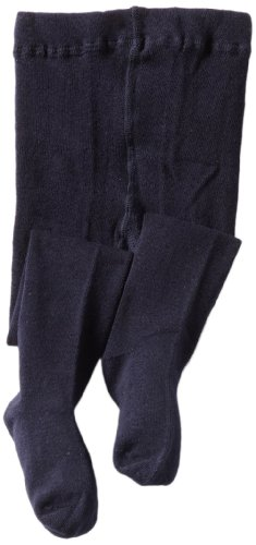 Jefferies Socks Little Girls'  Seamless Organic Cotton Tights, Navy, 2-4 Years