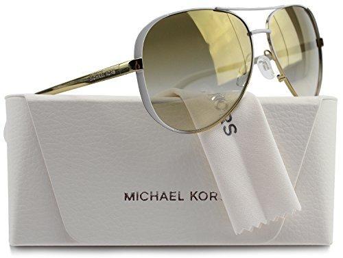 Michael Kors MK5004 Chelsea Aviator Sunglasses Gold w/Gold Mirror Gradient (1016/6E) MK 5004 10166E 59mm - Aviator Kors Sunglasses Michael White