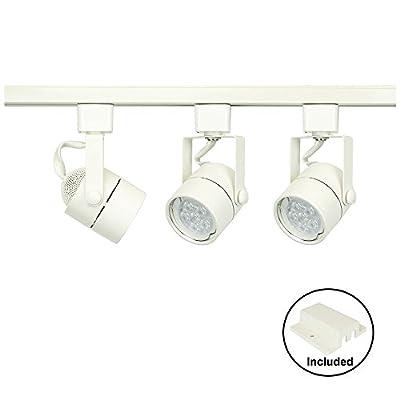 D&D Brand H System 3-Lights GU10 LED Track Lighting Kit White 3K Warm White HTC-9154-330K-WH Bulbs Included